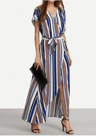 Striped Slit Maxi Dress with Belt without Necklace