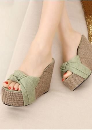 Platform Knot Wedge Sandals