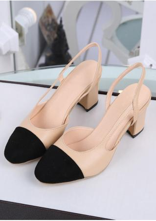 Splicing Round Toe Heeled Pumps