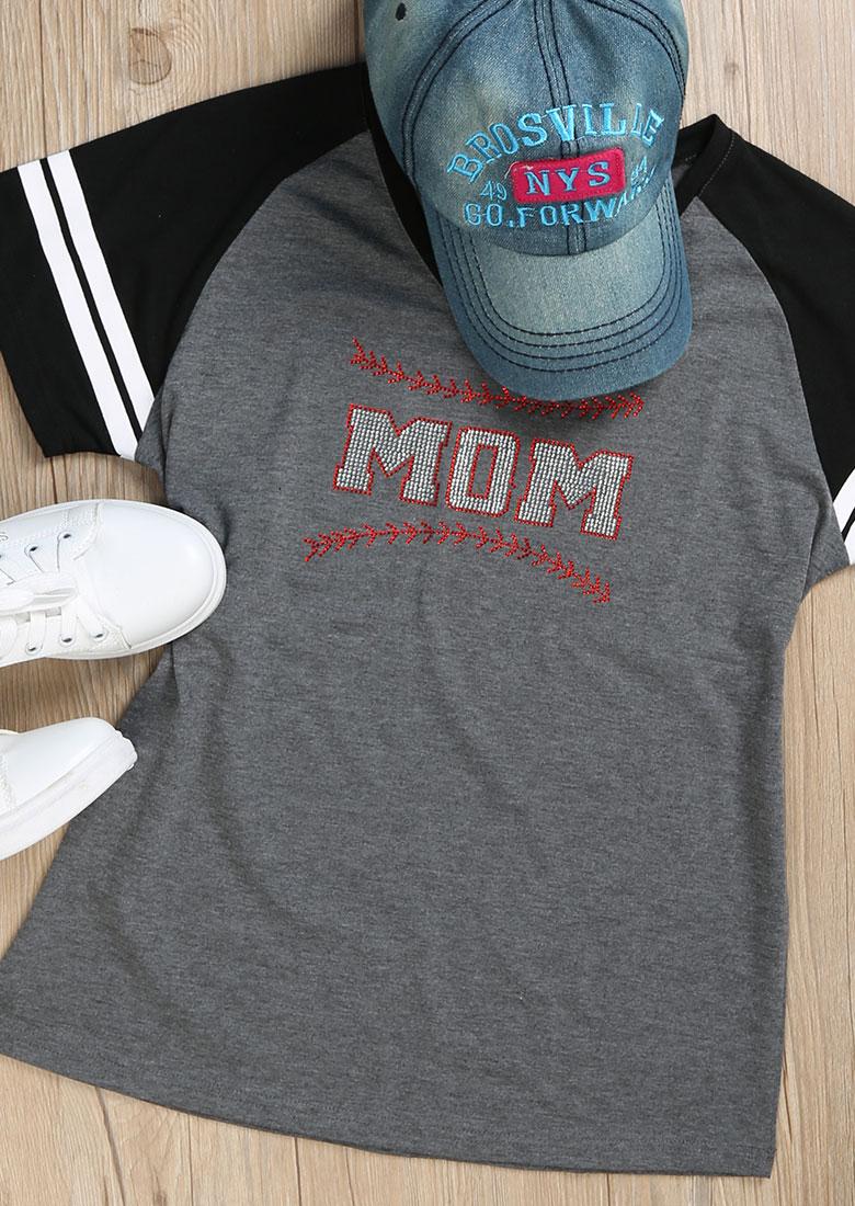 Mom Imitated Crystal Baseball T-shirt