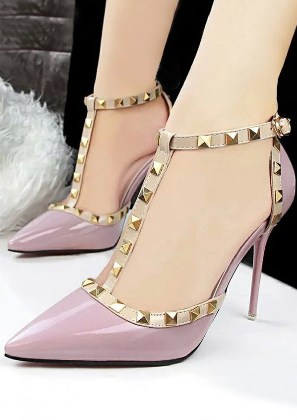 Image of Rivet T-Strap Heeled Pumps