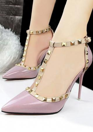 Rivet T-Strap Heeled Pumps