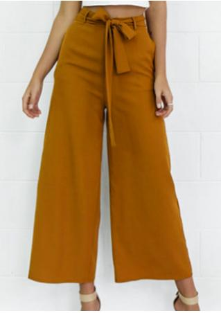 002a5ab257 Solid Wide Leg Pants with Belt - Fairyseason