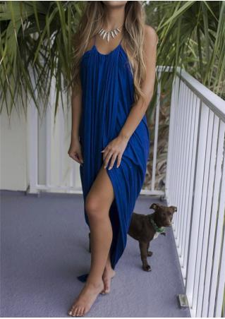Solid Split Maxi Dress without Neclace