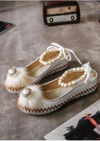 Beading Round Toe Flat Shoes