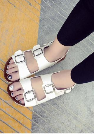 Leather Buckle Strap Flat Sandals