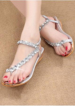 Imitated Crystal Ankle Strap Flat Sandals