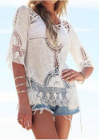 Solid Crochet Hollow Out Cover Up