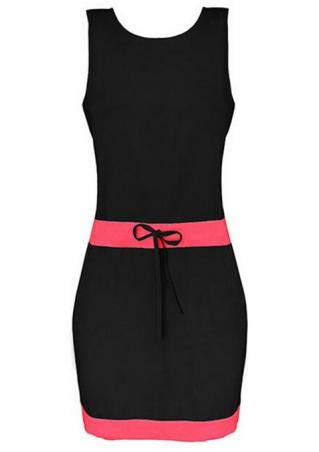 Splicing Tie Sleeveless Bodycon Mini Dress