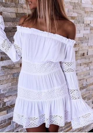 Lace Floral Splicing Off Shoulder Mini Dress