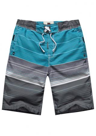 Striped Drawstring Pocket Casual Shorts