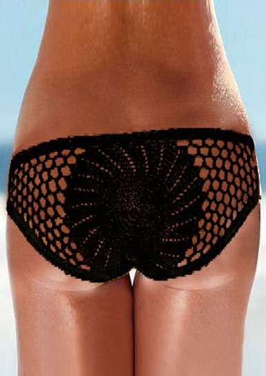 Solid Knitted Hollow Out Bikini Panties 29437