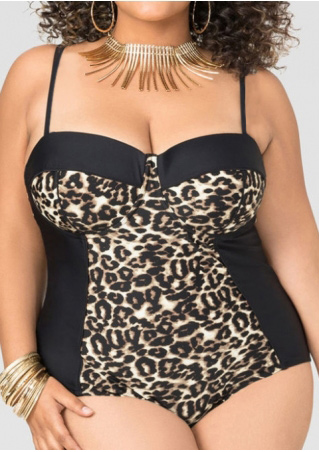 Plus Size Leopard Printed Splicing Swimsuit without Necklace