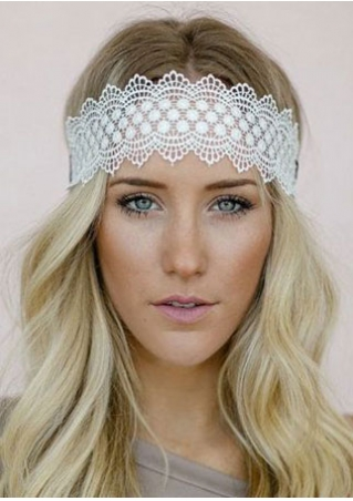 Solid Lace Floral Hollow Out Headband