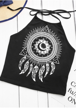 Tattoo Printed Halter Crop Top