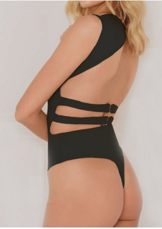 Solid Backless One-Piece Sexy Swimsuit