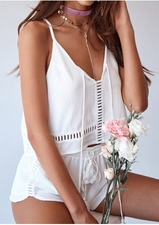 Solid Hollow Out Tassel Camisole and Shorts Set without Necklace Solid
