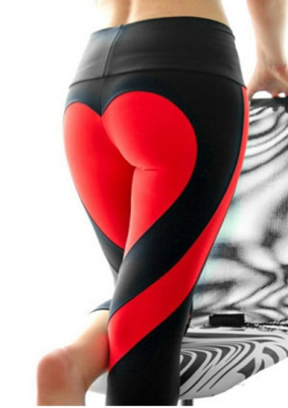 Heart Splicing Elastic Sport Leggings