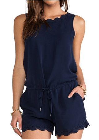 Solid Lace Trim Zipper Romper