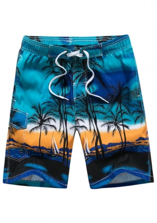 Coconut Tree Pocket Drawstring Shorts