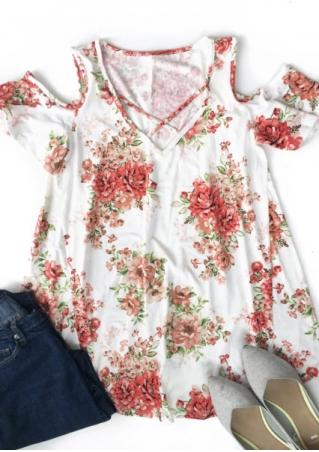 Floral Criss-Cross Cold Shoulder Blouse
