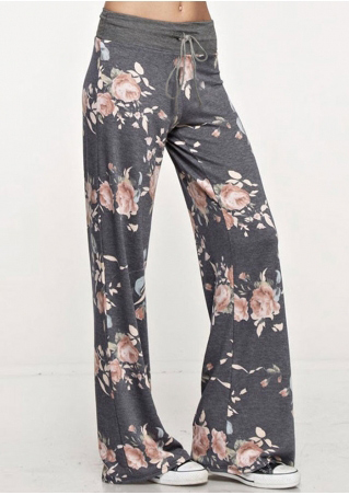 Floral Drawstring Casual Flare Pants