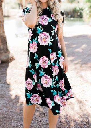 Floral Mid-Calf O-Neck Dress