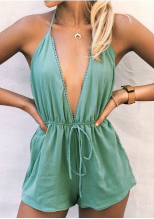 Solid Deep V-Neck Halter Romper without Necklace