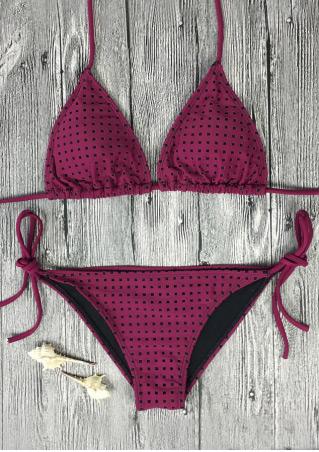 Printed Halter Tie Bikini Set Printed