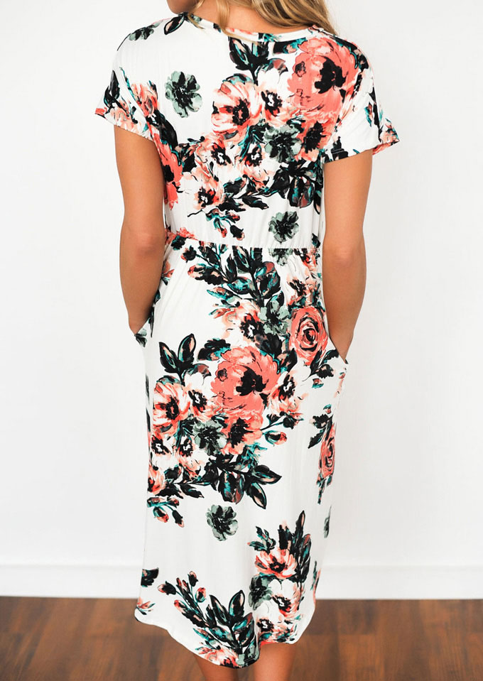Floral Mid Calf Casual Dress Fairyseason
