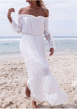 Solid Ruffled Lace Floral Off Shoulder Maxi Dress without Belt