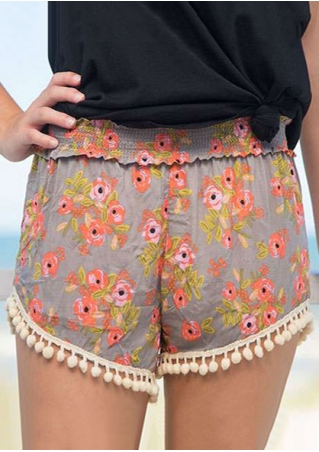 Floral Tassel Splicing  Elastic Waist Shorts