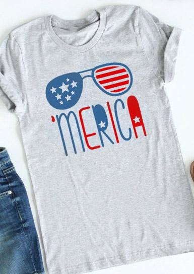 Merica Flag Glasses T Shirt Fairyseason