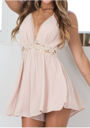 Lace Splicing Deep V-Neck Romper without Necklace