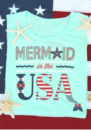 Mermaid In The USA O-Neck Tank