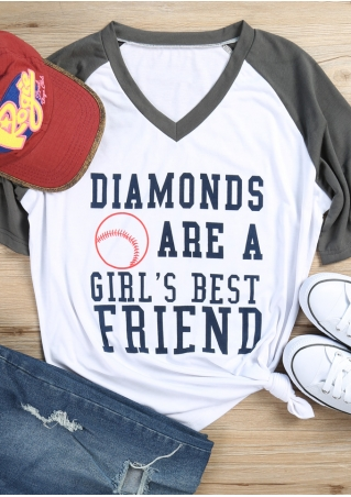 Diamonds Are A Girl's Best Friend Baseball T-Shirt