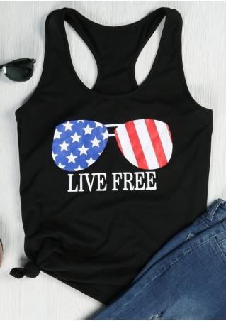 Live Free American Flag Glasses Tank