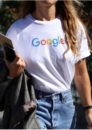 Google Printed O-Neck Short Sleeve T-Shirt