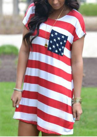 American Flag Pocket Mini Dress without Necklace - Stripe