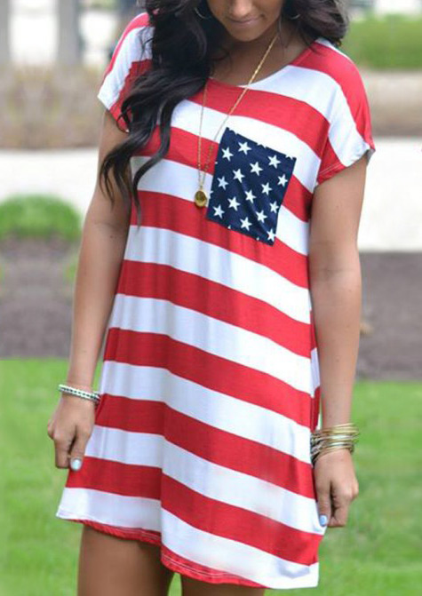 Mini Dresses American Flag Pocket Mini Dress without Necklace in Stripe. Size: S,M,L,XL фото