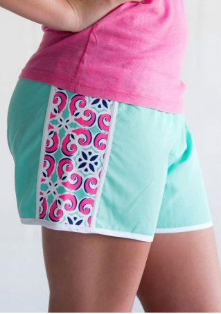 Printed Splicing Elastic Waist Shorts
