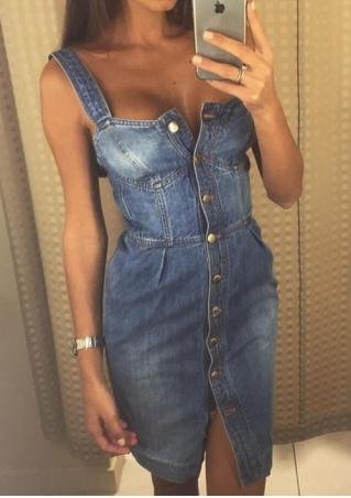 Button Denim Bodycon Mini Dress