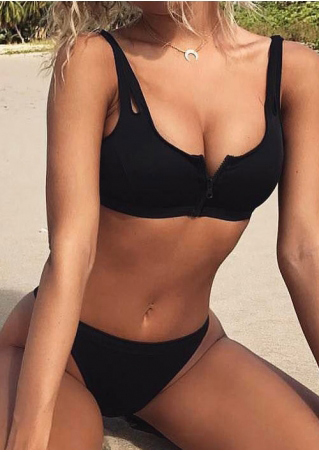 Solid Zipper Sexy Bikini Set without Necklace