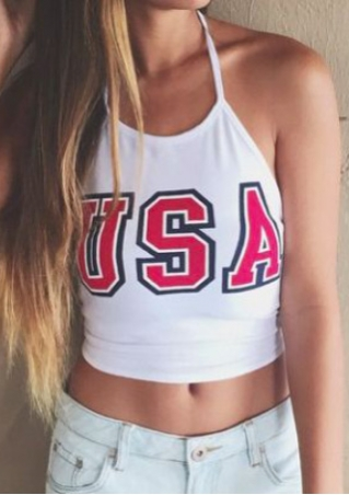 USA Sleeveless Halter Crop Top