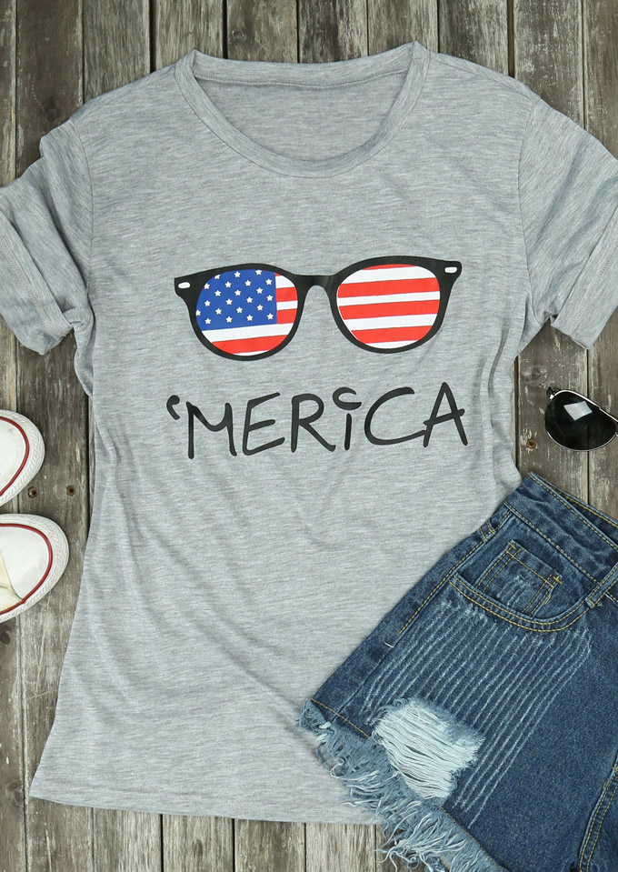 Merica American Flag Glasses T Shirt Fairyseason