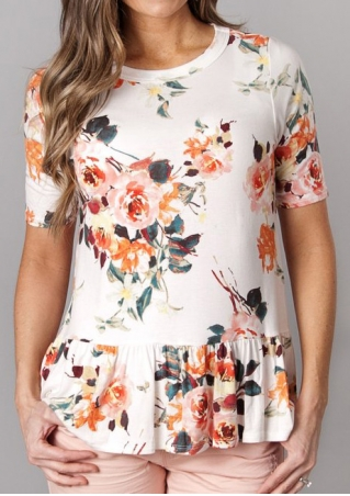 Floral Ruffled Short Sleeve Blouse