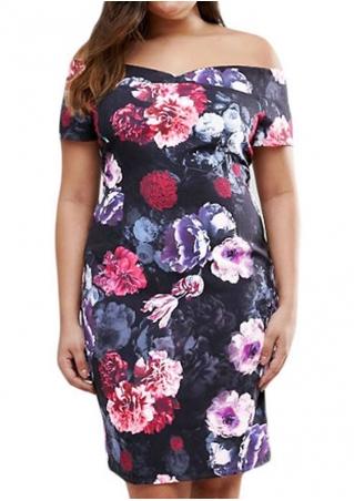 Floral Off Shoulder Plus Size Bodycon Casual Dress