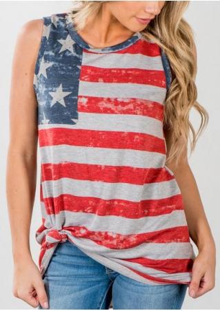 American Flag Printed O-Neck Tank