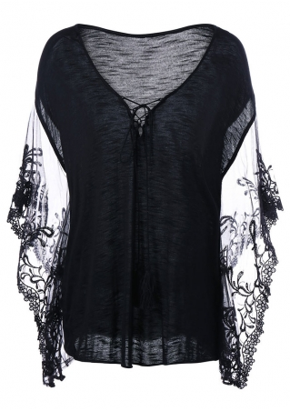 Solid Lace Floral Splicing Lace Up Tassel Blouse