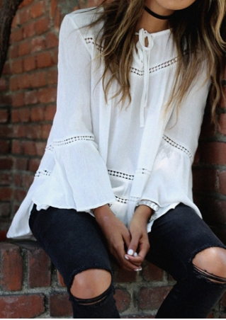 Solid Tie Flare Sleeve Blouse without Necklace